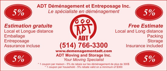 coupon - demenagement et Entreposage